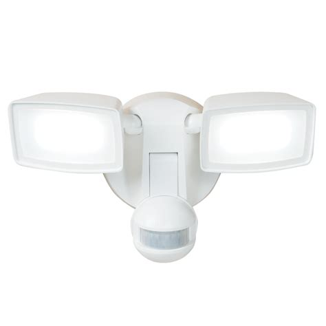 2 head led motion activated flood light shop all pro 180 degree 2 head white integrated led motion