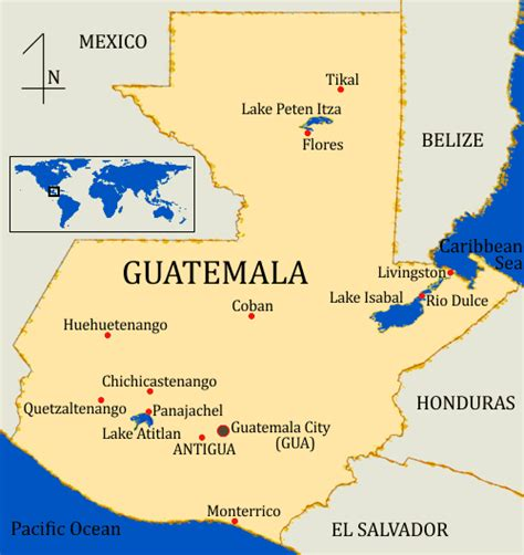 mapa de guatemala guatemala   map antigua