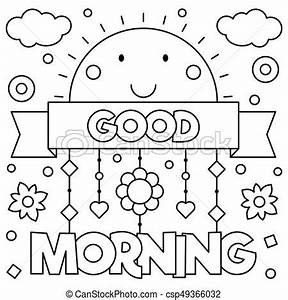 Good morning. coloring page. vector illustration. Good ...