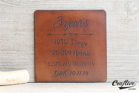 3 year anniversary gift 3rd anniversary gift leather coasters