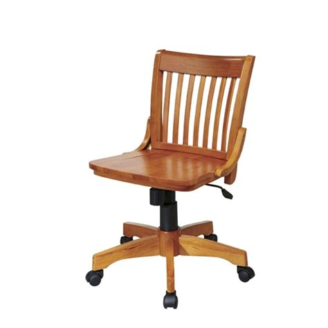 armless bankers chair with adjustable height wood seat