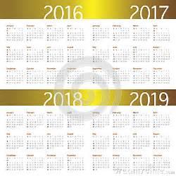 2016 2017 2018 2019 Calendar