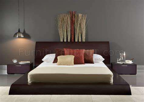 wenge finish modern pc bedroom set wqueen size platform bed