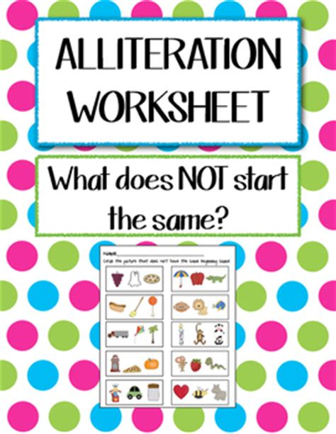 alliteration worksheet by kindergarten kiddos teachers