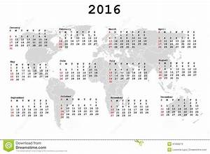 2016 Calendar For Agenda With World Map Stock Vector Image: 41939273
