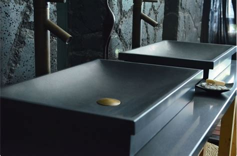 lavabo bol salle de bain vasque en 201 vier en dune shadow granit noir 60x40cm salle de bain living roc
