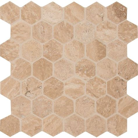 tile probe home depot ms international colisseum hexagon 12 in x 12 in x 10 mm honed and filled travertine meshmounted