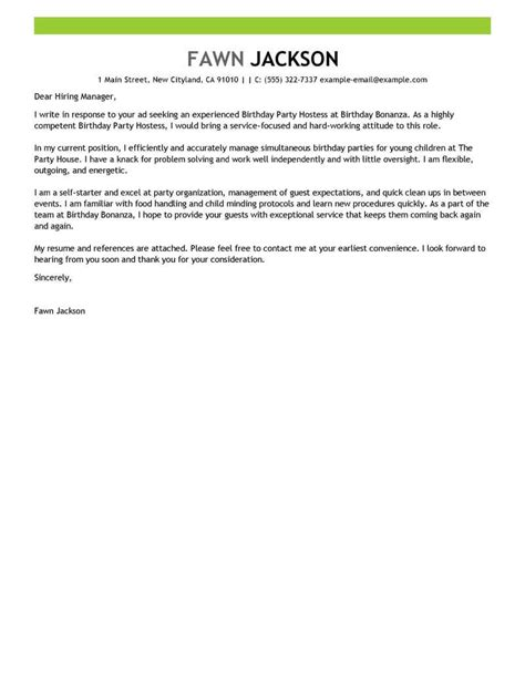 birthday party host cover letter examples livecareer