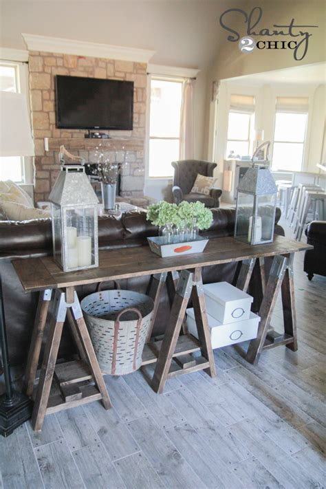 diy sawhorse console table shanty  chic