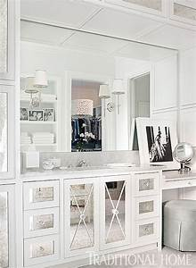 Mirrored x mullion transitional bathroom traditional for Best brand of paint for kitchen cabinets with mirrored wall art decor