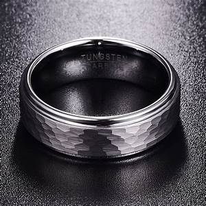 Tungsten Mens Ring Hammered Mens Wedding Band 8mm Size