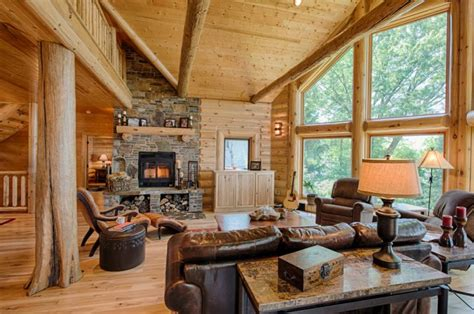cozy  warm log cabin living rooms   fall  love