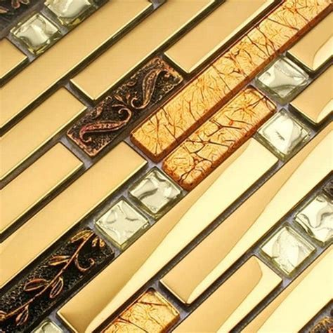 luxury metal mosaic strip glass mixed stainless steel