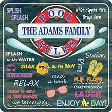 Personalized Swimming Pool Rules Sign With Summer Quotes