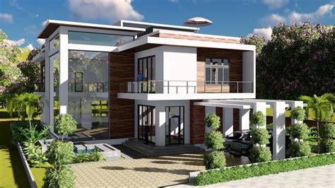 Sketchup Modeling + Lumion Render 2 Stories Villa Design