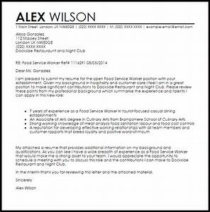 Food Service Worker Cover Letter Sample