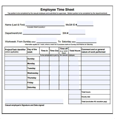 garage invoice template employee timesheet sample 11 documents in word excel pdf