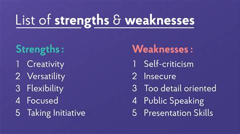 strengths  weaknesses  job interviews