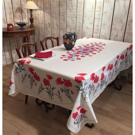 frenchictoyou le tissu provencal nappe coquelicot blanche coton enduit