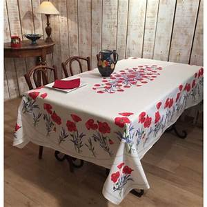 Nappe Blanche Tissu : frenchictoyou le tissu provencal nappe coquelicot blanche coton enduit ~ Teatrodelosmanantiales.com Idées de Décoration