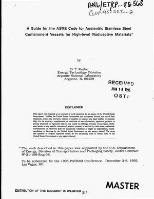 A guide for the ASME code for austenitic stainless steel