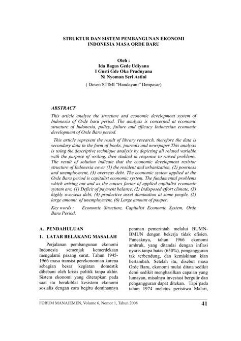 (PDF) STRUKTUR DAN SISTEM PEMBANGUNAN EKONOMI INDONESIA