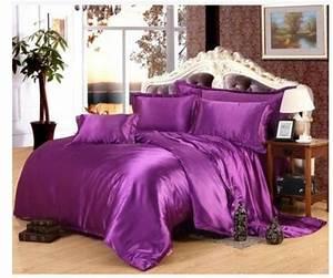 Purple, Luxury, Silk, Satin, Bedding, Sets, Super, King, Size