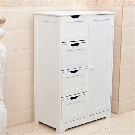 Small Free Standing Bathroom Cabinet by White Wooden 4 Drawer Bathroom Storage Cupboard Cabinet