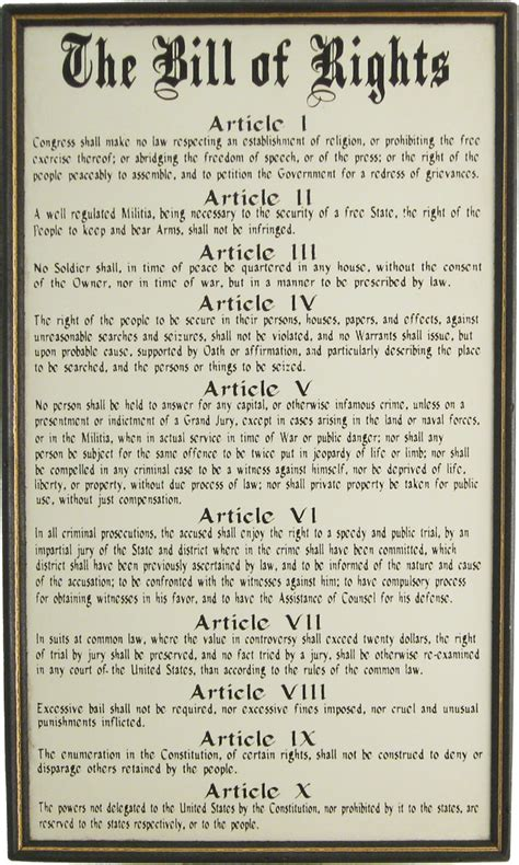 Powerful Bill Of Rights Wood Sign For Sale  Made In The Usa