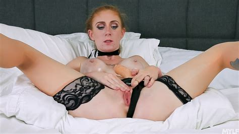 Perverted Redhead Milf Oils Herself Up And Plays With Strap On Dildo In Bed Milf Fox
