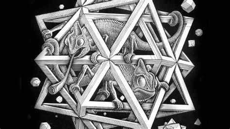 ah mc escher space art illust lizard bw papersco