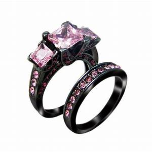 rn3111 victoria wieck princess cut black gold filled With pink wedding rings for women