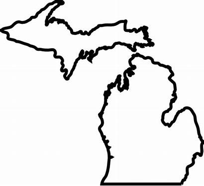 Michigan Outline Map State Vector Silhouette Clipart