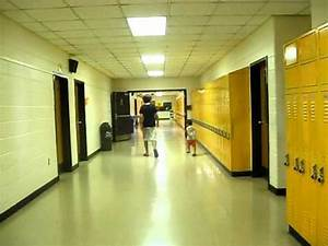 American High School hallway lined with lockers - YouTube