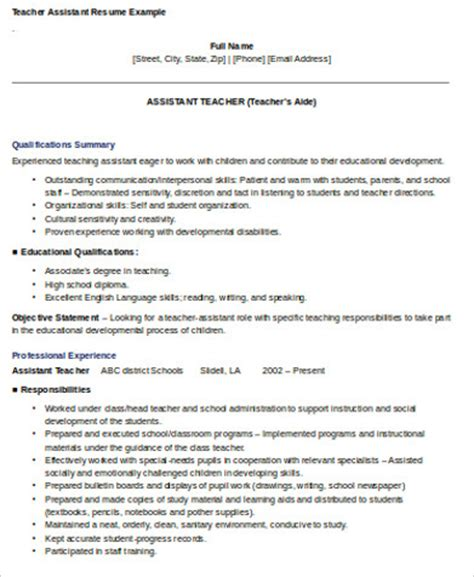 Skills For Teaching Resume by Sle Teaching Assistant Resume 9 Exles In Word Pdf