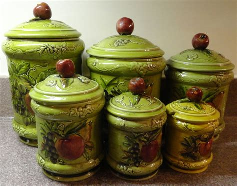 ceramic kitchen canister set lefton kitchen canister set ceramic signed by castellocasa on etsy