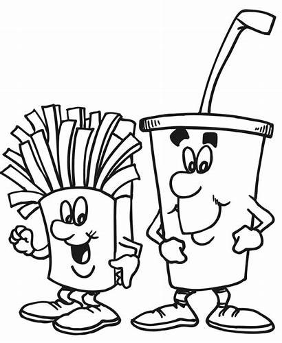 Coloring Drink Fries Pages Coloringpages