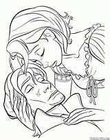 Coloring Pan Frying Rapunzel Tears Defense Tool Pages Tangled sketch template