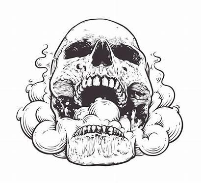 Skull Smoking Vector Clipart Graphics