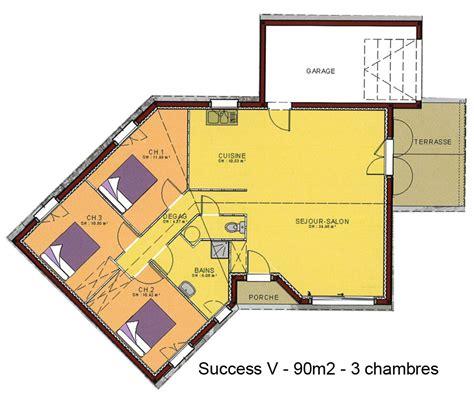 plan de maison en v plain pied 4 chambres modèle et plans success v 3ch du constructeur maisons sic