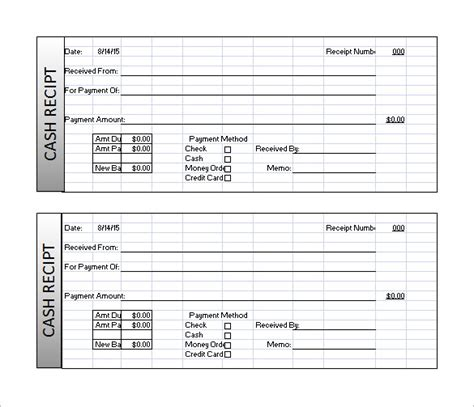 receipt template   word documents   types