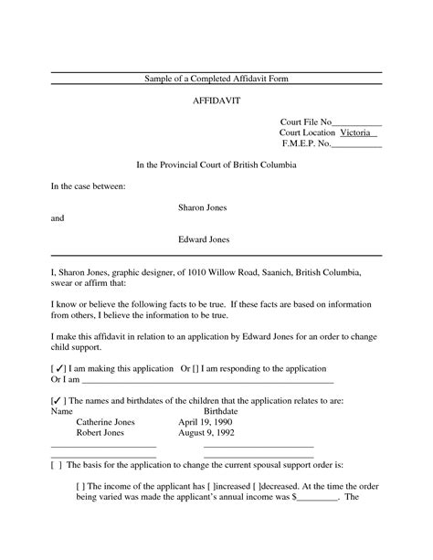 Affidavit Template Free Printable Affidavit Form Template Sle With Blank