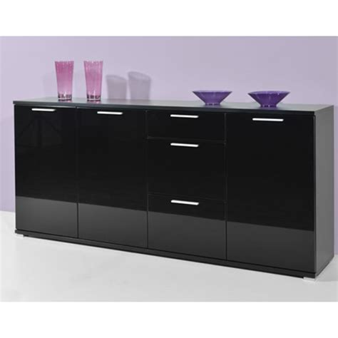Black Gloss Sideboards Cheap by Almeria Sideboard In Black High Gloss With 3 Doors And 3
