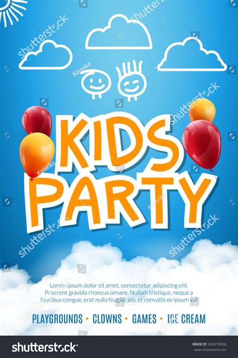 kids party invitation balloon design poster stock vector
