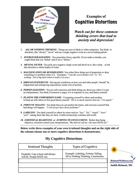 We are happy to release our first packet of free worksheets. Identify Cognitive Distortions! | Judith Belmont
