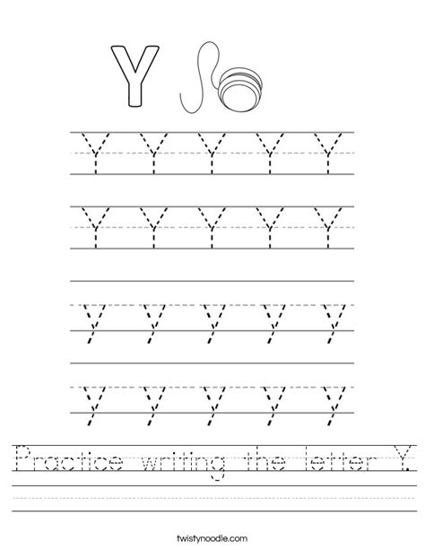 Practice Writing The Letter Y Worksheet  Twisty Noodle
