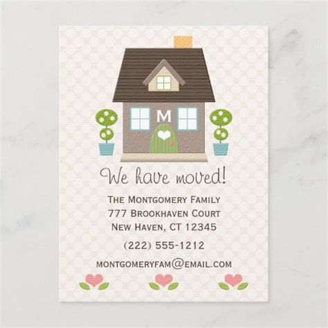 monogrammed home moving announcement postcard zazzlecom