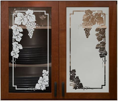 glass etching designs for kitchen vineyard grapes cabinet glass sans soucie shown here in 6820