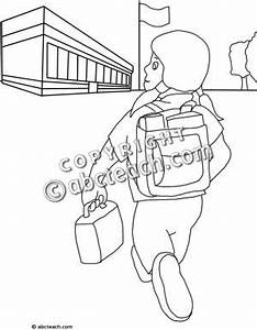 Walking To School Clipart Black And White - ClipartXtras