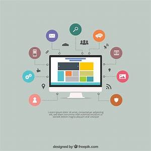 Screen with a website and icons Vector | Free Download